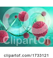 3D Medical Background With Abstract Virus Cells And DNA Strands