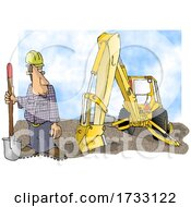 Construction Worker And Backhoe On A White Background