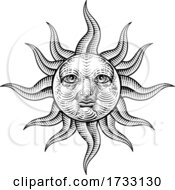 Sun Face Woodcut Drawing Retro Vintage Engraving