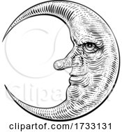 Moon Face Woodcut Drawing Retro Vintage Engraving