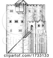Castle Old Medieval Building Vintage Woodcut Style by AtStockIllustration