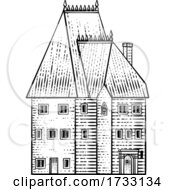 Old Medieval House Inn Building Vintage Woodcut