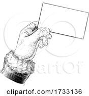 Santa Claus Hand Holding Christmas Message Vintage