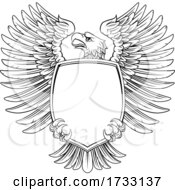 Poster, Art Print Of Eagle Shield Vintage Engraved Woodcut Style