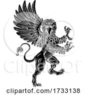 Griffin Rampant Gryphon Coat Of Arms Crest Mascot by AtStockIllustration