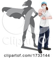 Nurse Doctor Woman Super Hero Shadow Pointing by AtStockIllustration