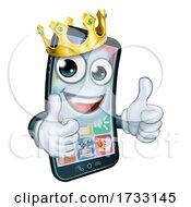 Mobile Phone King Crown Thumbs Up Cartoon Mascot