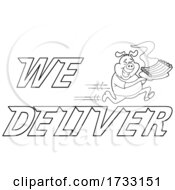 Poster, Art Print Of Lineart Fast Running Pig With Ribs With We Deliver Text
