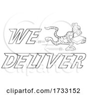 Outline Fast Running Cheetah With We Deliver Text by LaffToon