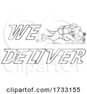 Outline Running Dog With We Deliver Text