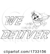Outline Fast Running Pizza Delivery Man With We Deliver Text by LaffToon