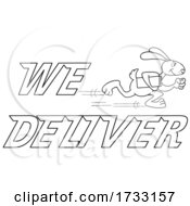 Outline Fast Running Rabbit With We Deliver Text