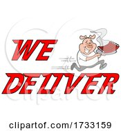 Poster, Art Print Of Fast Running Pig With Ribs With We Deliver Text