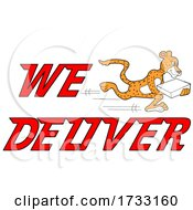 Fast Running Cheetah With We Deliver Text by LaffToon