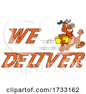 Fast Running Dog With We Deliver Text by LaffToon