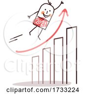New Year Stick Man Flying Over A Graph