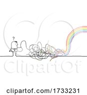 Stick Man With Scribbles And A Rainbow