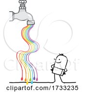 Stick Man With A Rainbow Flowing From A Faucet