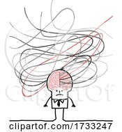 Stick Man With Scribbles Emerging From His Brain