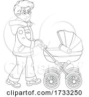Black And White Happy Father Pushing A Baby Stroller