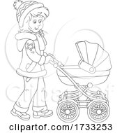 Black And White Happy Mother Pushing A Baby Stroller