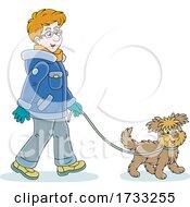 Happy Man Walking His Dog