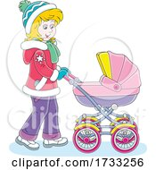 Happy Mother Pushing A Baby Stroller