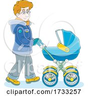 Poster, Art Print Of Happy Father Pushing A Baby Stroller