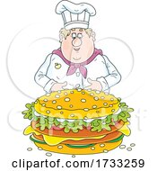 Fat Male Chef With A Giant Cheeseburger