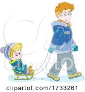 Poster, Art Print Of Dad Pulling His Son In A Sled