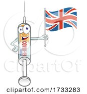 Covid 19 Syringe Vaccine Mascot Character Holding A UK Flag
