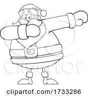 Santa Claus Dabbing In Black And White