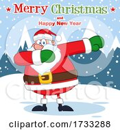 Santa Claus Dabbing With Merry Christmas And Happy New Year Text