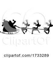 Silhouette Of Santa And Magic Reindeer