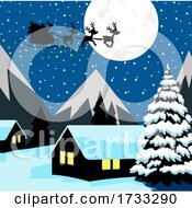 Silhouette Of Santa And Magic Reindeer Over A Village