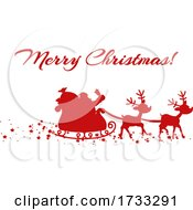 Red Silhouette Of Santa And Magic Reindeer And Merry Christmas
