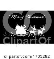 White Silhouette Of Santa And Magic Reindeer And Merry Christmas On Black