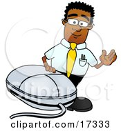 Black Businessman Mascot Cartoon Character With A Computer Mouse