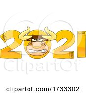Cartoon Bull Mascot In Year 2021 For Year Of The Ox by Hit Toon