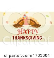 Poster, Art Print Of Turkey Bird Over A Happy Thanksgiving Greeting