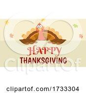 Turkey Bird Over A Happy Thanksgiving Greeting