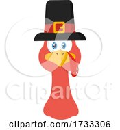 Turkey Bird Face With A Pilgrim Hat