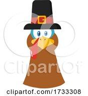 Poster, Art Print Of Turkey Bird Face With A Pilgrim Hat