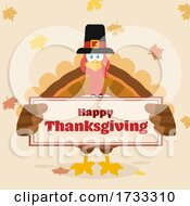 Poster, Art Print Of Turkey Bird Wearing A Pilgrim Hat And Holding A Happy Thanksgiving Sign