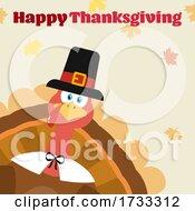 Turkey Bird Wearing A Pilgrim Hat With Happy Thanksgiving Greeting