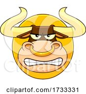 Cartoon Tough Bull Mascot Face Logo by Hit Toon