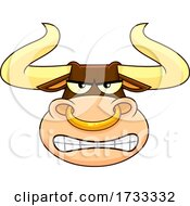 Cartoon Bull Mascot Face by Hit Toon