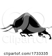 Charging Black Ox or Bull by Hit Toon #COLLC1733335-0037