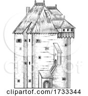 Old Medieval Castle Building Vintage Woodcut Style