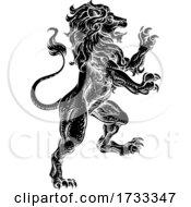Lion Rearing Rampant Coat Of Arms Heraldic Animal